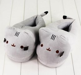 Wholesale Adult Slipper Shoes - 28cm Pusheen Cat Plush Slipper Pusheen The Cat Animal Winter Warm Indoor Shoes for Adults
