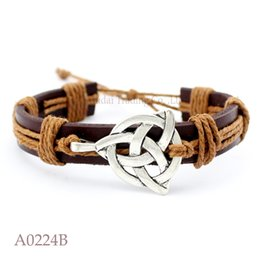 Wholesale Leather Jewelry Cuffs - ANTIQUE SILVER Irish Triquetra CHARM Adjustable Leather Cuff Bracelets Men & Women Friendship Bangle Punk Casual Jewelry