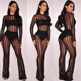 Wholesale Sexy Sheer Mesh Pants - Sexy Striped Bodycon Bandage Jumpsuit Women Mesh Flared Pants Long Sleeve Outfit Hottest Club Party Bodycon Jumpsuits OS150 Free Shipping