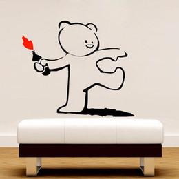 Wholesale Teddy Bears Stickers - Banksy Cute Throwing Bottle Fire Teddy Bear Vinyl Wall Sticker Decal Mural Wallpaper Kids Room Bedroom Art Decor Home 45x55cm