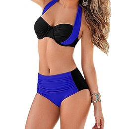 Wholesale Women Swimsuits Large - 2017 New Sexy Women Bikini Set Contrast Color Block Underwire Halter High Waist Bottom Beach Large Size Swimwear Swimsuit Bathing Suit