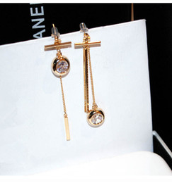 Wholesale Titanium Cubic Zirconia Pendant - hot selling fashion earring jewelry titanium steel Asymmetric 18K rose gold zircon diamond tassel pendant earrings for woman