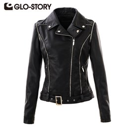 Wholesale Womens Leather Jackets Zippers - Wholesale- GLO-STORY Women Jackets 2017 Chic Street Punk Style Autumn Winter womens Coats Lady PU Leather Jacket Coat WPY-3335