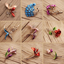 Wholesale Wholesale Enamel Paint - 10pcs   lot Mix Style Enamel Painted National Wind Crystal Jewelry Brooches Pins For Jewelry Craft Gift Free Shipping