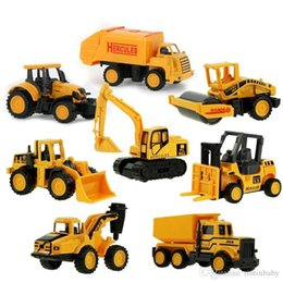 Wholesale Toy Models Cars Trucks - Diecast Metal Plastic Mini Construction Vehicle Engineering Car Artificial Dump Truck Model Toy (Pack of 8)