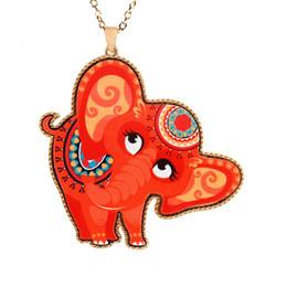 Wholesale Lucite Elephant - fashion bohemia animal necklace acrylic alloy color painted cute elephant pendant necklace statement hip hop Jewelry wholesale free shipping