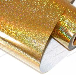 Wholesale Heat Transfer Vinyl Wholesale - 2017 HOT Gold Heat Transfer Vinyl Press Film For Plotter T-shirts Glitter Holographic Iron-on 50cm*100cm free shipping MYY