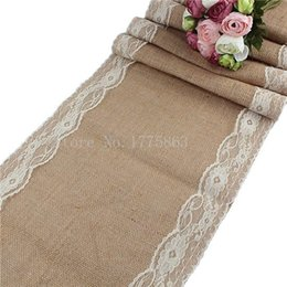 """Wholesale Ivory Wedding Table Runners - Wholesale-Christmas Decor 30x275cm Rustic Burlap Lace Hessian Table Runner Natural Jute For Wedding Decoration ( ivory ) 12x108"""" AA7935"""