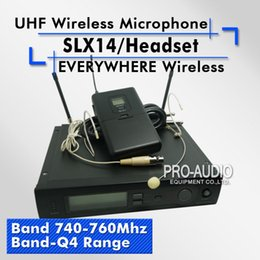 Wholesale Wireless Headset Microphone System Uhf - Free Shipping! SLX14 SLX1 UHF Professional Wireless Microphone System With Bodypack Headset Microphone Band Q4 740-760Mhz