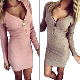 Wholesale One Long Sleeve Mini Dress - New Fashion Women Clothes Long Sleeves Deep-V Neck Sexy Club Long Causual Vestidos Bandage Elastic One Piece Casual Dresses Women Clothing