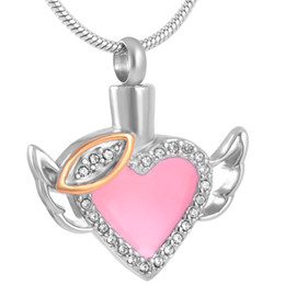 Wholesale red heart wings charm - IJD8343 Heart Memory Cremation Pendant Necklace Wings and Crystal Ashes Keepsake Urn Necklace Stainless Steel
