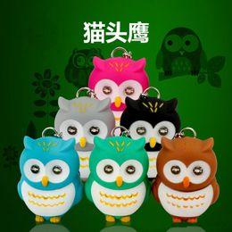 Wholesale Owl Flashlight - 2016 Cartoon LED Key Chains GIFT Lovely Owl Electric LED Light Electric Torch Flashlight Keychain Animal Keychains