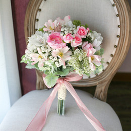 Wholesale Mori Wedding - New Arrial Pink Country Mori Bridal Bouquets 2017 Stardust Cosmos Bride Photography Beach Wedding Supplies Artificial Bridesmaid Flower