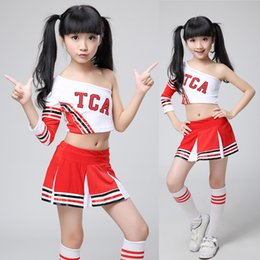 Wholesale Rhinestone Costumes - Kids Adult High School Cheerleader Costume Cheer Girls Uniform Party Outfit Tops + Skirt Kids Girl Cheerleader Uniform for Competition