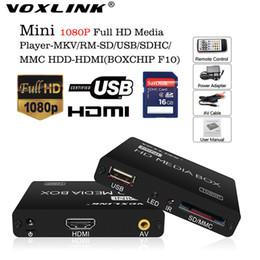 Toptan Satış - Toptan-VOXLINK Multimedya oynatıcı Mini Full HD 1080P HDD Medya Oynatıcı tv kutusu Destek HDMI MKV RM SD USB SDHC MMC HDD-HDMI (BOXCHIP F10) cheap rm hd media player hdmi nereden rm hd medya oynatıcı hdmi tedarikçiler