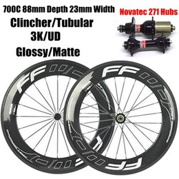 Wholesale Road Bike Clincher Wheel Set - 88mm Fast Forward FFWD Full Carbon Bike Bicycle Wheels Wheelset 3K Glossy Clincher Tubular Bike Rims With Novatec 271 372 Hubs White Decals