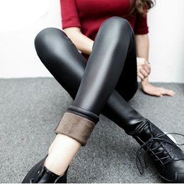 Wholesale leather pants wholesale - Wholesale- new 2015 thickening black leather boots leggings skinny pants winter warm women's trousers winter pants for women high quality