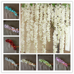 bouquets lights Coupons - 50PCS Artificial Hydrangea Wisteria Flower For DIY Simulation Wedding Arch Square Rattan Wall Hanging Basket Can Be Extension