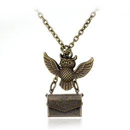 Wholesale Owls For Necklaces - 50PCS Lot Classic Harry Potter Admissions Notification Envelope Owl magic Necklace Pendant for friend mysterious Christmas gift