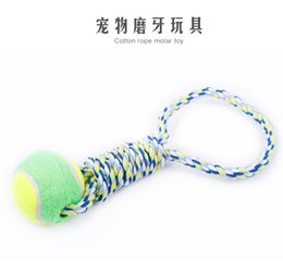 Wholesale Dog Training Rope Lead - Free Shipping Tennis Pet Dog Toy Bite And Chew Cotton Hand Lead Cotton Knot Rope Dog Molars Chewing Ball Toys Pet Dog Training Toys