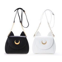 Wholesale Harajuku Blue Bag - Wholesale- Cute black white Japanese anime cosplay sailor moon bag harajuku cute women bag PU black white lolita messenger bags