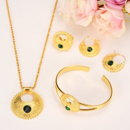 Wholesale Emerald Solid Yellow Gold Rings - Ethiopian Set Jewelry Pendant Earrings Ring Bangle 24k Yellow Solid Gold GF CZ Green Blue Africa Bride Wedding Eritrea Party