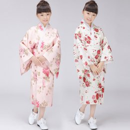 Wholesale Children Dressed Traditional Clothing - Floral Printed Kids Japanese Kimono Clothing Children Yukata Traditional Kimonos Girls Bathrobe Japanese Ancient Dress Clothes