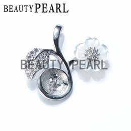Wholesale Silver Leafs Wholesale - 5 Pieces Pearl Pendant Findings White Shell Flower Leaf 925 Sterling Silver DIY Charm Pendant Mount