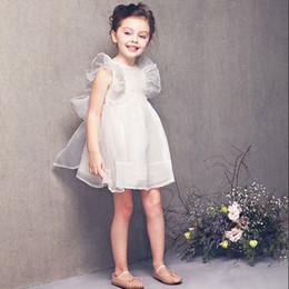 Wholesale Evening Gowns Wholesale Sleeves - Kids Clothing Ruffled Sleeve Evening Dresses For Girls New Fashion Summer Childrens White Princess Dress