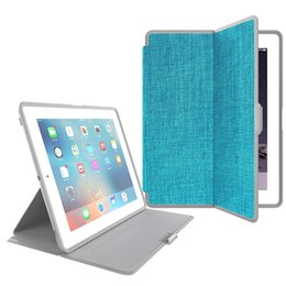 Wholesale Book Cover Printing - High Quality Canvas Grain Print PU Leather Cover For iPad Mini 2 3 1 Book Folding Stand Case For iPad 2 3 4 6 air2 Smart Sleep Wake Functio