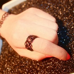 Wholesale Stretch Bands For Rings - R290 Stretch Tattoo Finger Rings Punk Retro Gothic Elastic Ring For Women Anillos Fashion Jewelry Anel Bijoux 2016