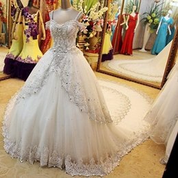 Wholesale Spaghetti Strap Dress Shining - 2017 Sparkly Ball Gown Wedding Dresses Spaghetti Straps Off Shoulder Crystal Tulle Luxury Shining Cathedral Bridal Wedding Gowns Lace Up