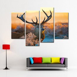 Wholesale Autumn Canvas Wall Art - 4 Piece Elk Painting Canvas Animal Print Wall Art Painting Deer In Autumn Forest In Sunset Paintings For Home Living Room Decor Unframed