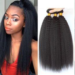 Wholesale Straight Light Yaki Weave - Mongolian Virgin Hair Kinky Straight Human Hair Weave Bundles Natural Black Color Italian Coarse Light Yaki Human Hair Weft