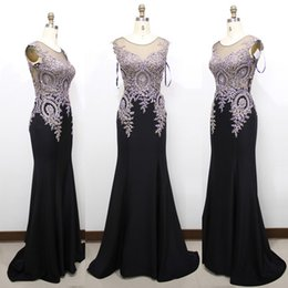 Wholesale Cheap Real Gold China - Sleeveless Scoop Neckline Long Mermaid Prom Dresses Gold Lace Appliques Black Prom Gown Cheap China Wholesale Dress