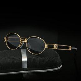 Wholesale Small Frame Sun Glasses - Vintage Small Steampunk Goggles Oval Sunglasses Women Men Retro Gothic Sun Glasses Gold Frame Eyewear Pink Punk Oculos YW133