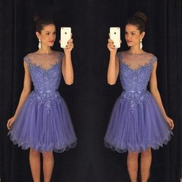 Wholesale Cocktail Dresses For Graduation - 2018 New Autumn Purple Homecoming Dresses Beading Tulle Appliqued Sheer Neck Cheap Graduation Cocktail Party Gowns For Girl Sweet 16 Dress