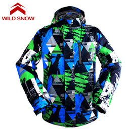 Wholesale Snow Jackets For Men - Wholesale- Wild Snow Waterproof Men's Ski Jacket Breathable Snowboard Jacket for Men Winter Outdoor Thermal Coat Snow Clothing Warm Coat
