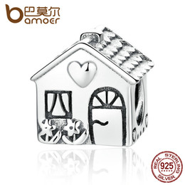 Wholesale Authentic Pandora Family Charm - Pandora Style Authentic 925 Sterling Silver Love Heart House Charms Fit BME Bracelets Families Gift Fine Jewelry PAS341