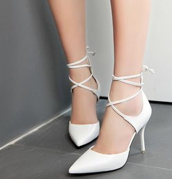 Wholesale Sexy High Heel Feet - Fashion Beauty Europe and the United States star models sexy catwalk nightclub shoes foot ring with pointed high heels shoes 1771