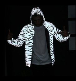 Wholesale Luminous Long Sleeve - Spring and Autumn King Kayan West Man Jacket Tide Plate Zebra 3M Reflective Jackets Winner Luminous Jackets