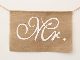 Wholesale Burlap Wedding Banners - Hot Khaki Mr. & Mrs. Burlap Chair Banner Set Chair Sign Garland Rustic Wedding Party Decoration