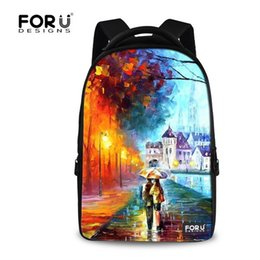Wholesale girl 3d painting - Wholesale- Fashion 15.6 inch Printing Women Travel Backpack 3D Children Painting Backpacks,Large Computer Laptop Backpack for School girls