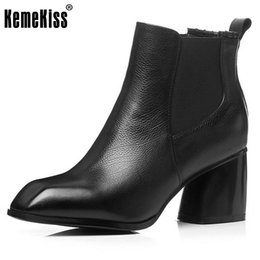 Wholesale Size 33 Wedges - Hot sale Fashion Women Ankle Boots Real Leather Brand Fashion Flock Pointed Toe Square Heels Cross-Strap Shoes Women Size 33-43