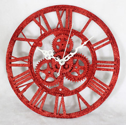 Wholesale Antiques Free Shipping - Wholesale- QIYUE Retro Modern European wall clock fashion creative clock wall gear red sandstone gold antique wall clock free shipping