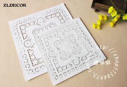 "Wholesale White Paper Doilies - Wholesale- ZLDECOR 8""&10""Mixed Sizes Square Lace Flower Paper Doilies Placemat Crafts for DIY Scrapbooking Card Making Wedding Decoration"