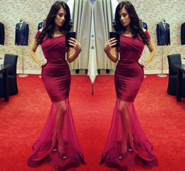 Wholesale Green Dresses Tull - 2017 New Elegant Burgundy Mermaid Prom Dresses Sexy Off The Shoulder Ruffles Floor Length Tull Gowns Evening Dresses Formal Party Gowns