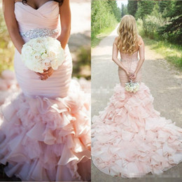corset blush wedding dress Promo Codes - Plus Size Wedding Dresses Blush Pink Mermaid Crystals Corset Cathedral Train Organza Sweetheart 2016 Spring Vintage Bridal Gowns Custom Made