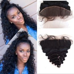 Wholesale Natural Wave Cambodian - Mongolian Lace Frontals with Baby Hair Unprocessed Peruvian Brazilian Indian Cambodian Human Hair Loose Wave Frontal 13x4 FDSHINE
