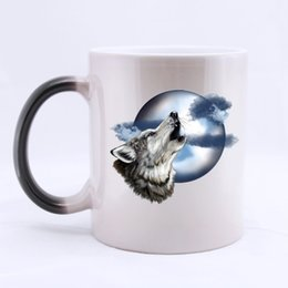 Wholesale Custom Wolf - Wholesale- Roaring Wolf and Moon Custom Coffee Mug Mugs Color Change Ceramic Cup Water Office Beer Cups 11 OZ Two Sides Printed
